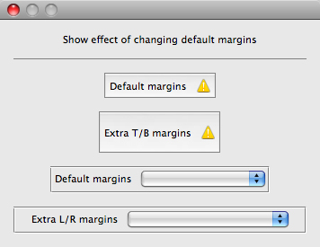 Show effect of changing default margins