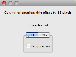 Column orientation: title offset by 15px